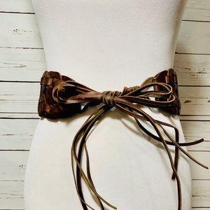 {BANANA REPUBLIC} Wide Woven Leather Tie Belt